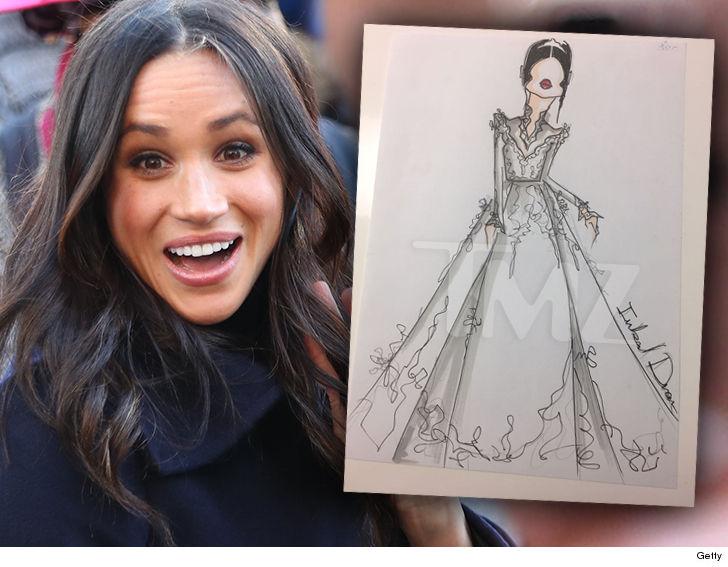 شاهدي الصور الأولي لتصميم فستان زفاف ميغان ماركل على الأمير هاري حفيد ملكة بريطانيا