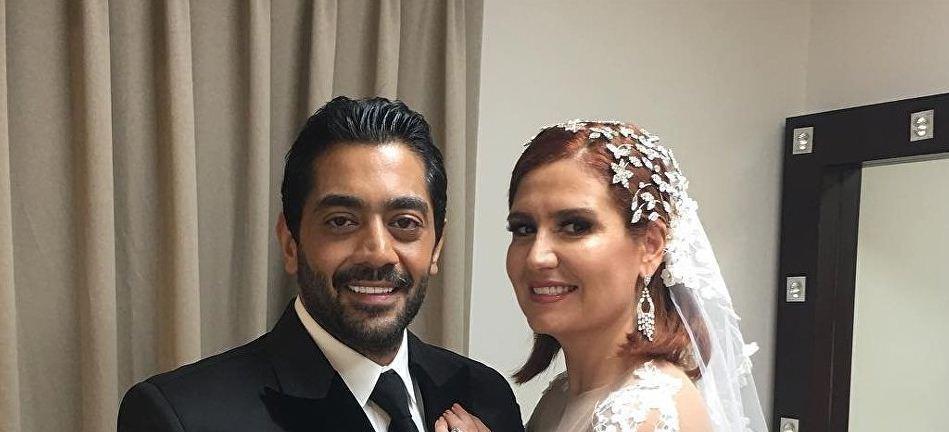 شاهد.. أحمد فلوكس وهنا شيحة يحتفلان بزفافهما أمام السيسي
